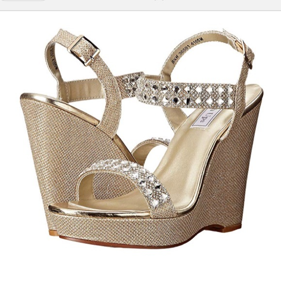 NEW  Gold Sparkly Wedges - Touch Ups Brynn d15604f4c